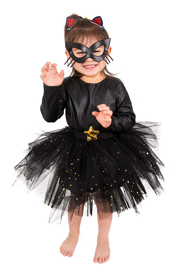 Kleine Schwarze Katze Kätzchen Kleid für Kinder Halloween Kostüm mit Ohren und Schwanz