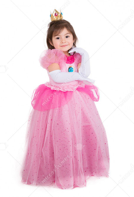 [Free US Economy Shipping] Child Girls Princess Peach Dress Halloween Costume for Kids with Crown