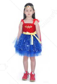 Child Girls Wonder Woman Princess Diana Dress Halloween Costume for Kids