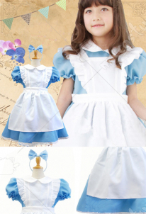 Alice Adventures in Wonderland Kids Alice Christmas Costume Girl Maid Dress