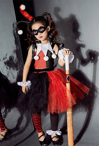 Child Halloween Joker Cosplay Harley Quinn Dress Cosplay Costume
