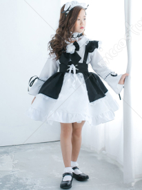 Child Halloween White and Black Maid Dress Cute Girls Lolita Cosplay Costume