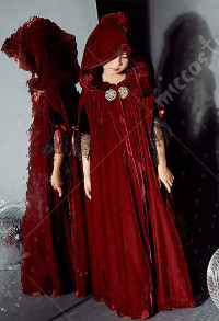 Halloween Child Witch Cloak Cape Cosplay Vampire's Hooded Cloak Cosplay Costume