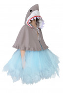 Kids Baby Little Shark Grey Halloween Costume Tutu Dance Dress with Cloak