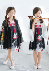 Improved Kids Girls Daily Chinese Style Hanfu Dress Kimono Stage Performance Costume Full Set