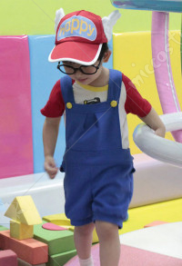 Dr. Slump Arale Norimaki Kids Short Sleeve Shirt Overalls Cosplay Costume