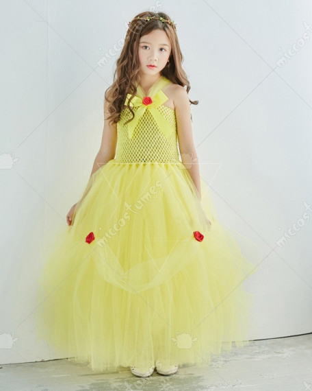 Halloween Cosplay Princess Belle Cosplay Kid Evening Dress Performance Tutu Dress