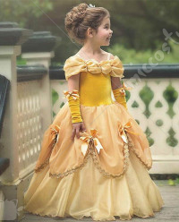 Halloween Cosplay Princess Belle Cosplay Kid Performance Tutu Dress