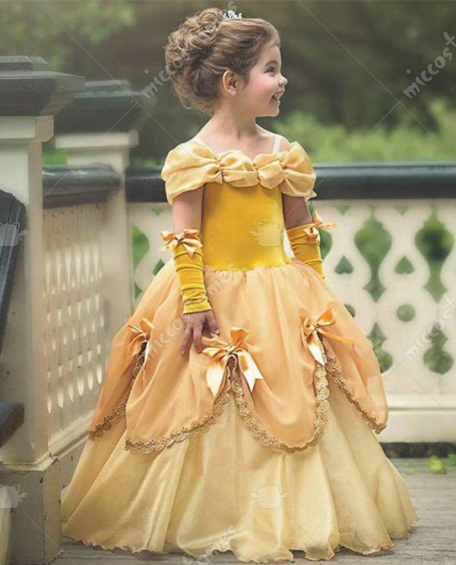 [Free US Economy Shipping] Halloween Cosplay Princess Belle Cosplay Kid Performance Tutu Dress