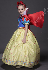 Snow White Cosplay Gorgeous Kid Dress Including Standing Collar Cape And Hair Accessory