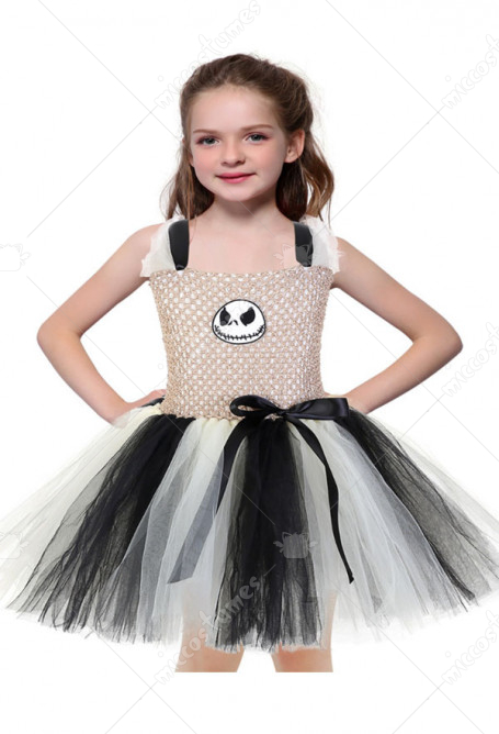 Halloween Cosplay The Nightmare Before Christmas Jack Skellington Pattern Kid Tutu Dress