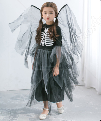 Halloween Cosplay Skeleton Pattern Tutu Dress Kid Performance Princess Dress