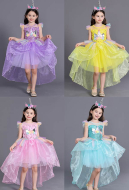 [Free US Economy Shipping] Halloween Cosplay My Little Pony Cosplay Unicorn Kid Princess Tail Dress