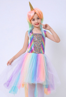 Halloween Cosplay My Little Pony Cosplay Unicorn Tail Dress Kid Performance Dress