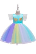 [Free US Economy Shipping] Halloween Cosplay Unicorn Rainbow Princess Instagram Kid Performance Dress