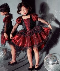Halloween Cosplay Vampire Witch Performance Dress Gothic Tail Dress Kid Princess Dress