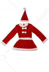 Kids Christmas Santa Claus Cosplay Costume Velvet Cute Christmas Party Dress with Hat