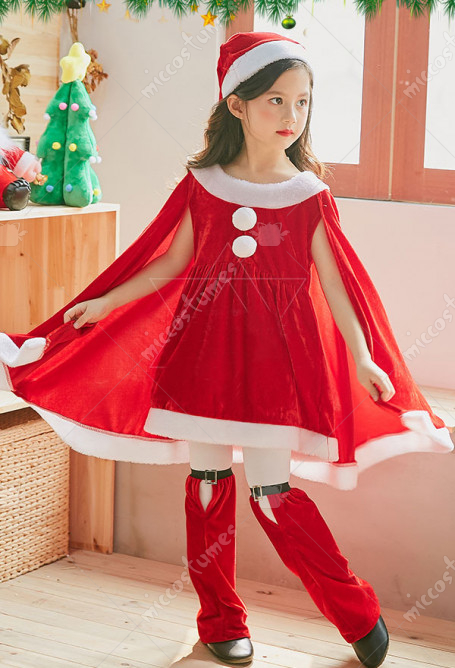 Kids Christmas Party Costumes Girls Santa Clothes Cosplay One Piece Dress with Cloak