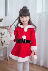 Kids Christmas Party Costumes Girls Red Santa Clothes Cosplay Dress with Long Sleeves