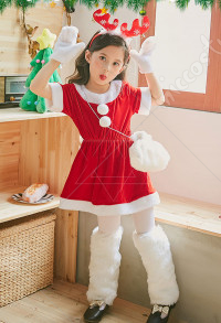 Kids Christmas Party Costumes Girls Red Santa Clothes Cosplay Cloak Dress with Reindeer Headband