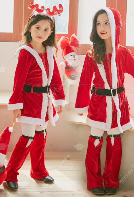Kids Christmas Party Costumes Girls Red Santa Clothes Cosplay Hooded Dress with Long Sleeves