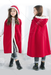 Kids Christmas New Year Party Costumes Girls Red Warm Cloak