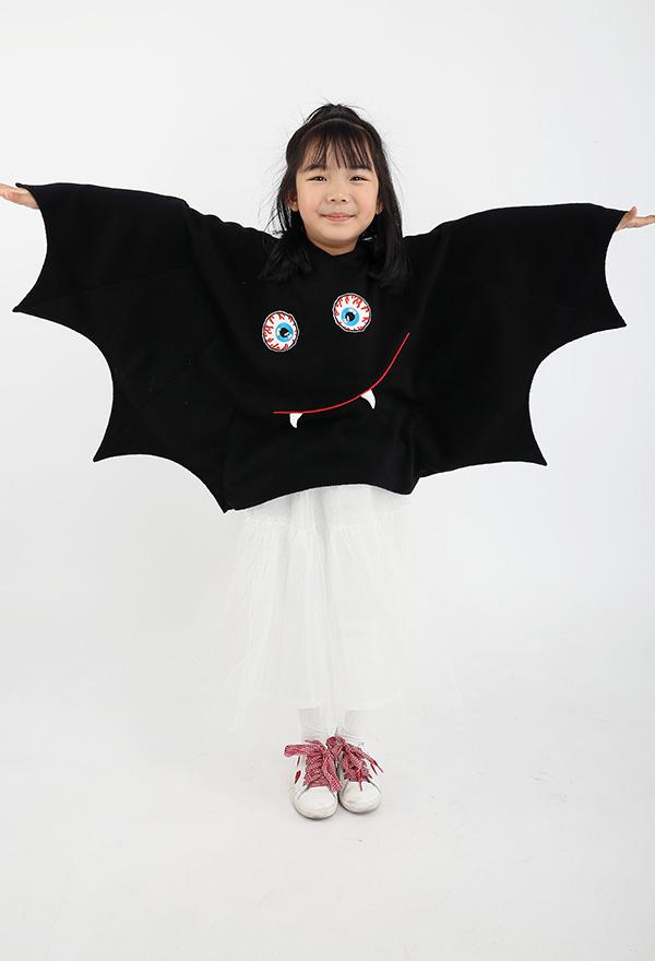 Halloween Fledermaus Mädchen Kostüm Kapuzenmantel für Kinder