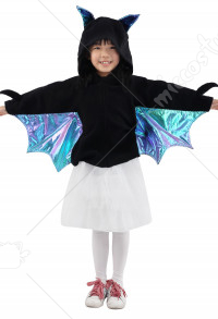 Kids Gril Fancy Bat Halloween Costume Cloak Dress Cover up