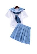 [Free US Economy Shipping] Kill la Kill Mako Mankanshoku Sailor Uniform Skirt Set Cosplay Costume