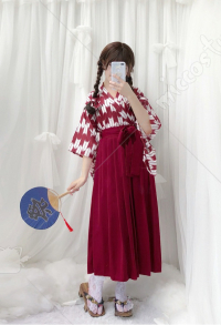 Yagasuri Arrow Feathers Japanese Style Improved Kimono Haori Long Pleated Skirt Costume