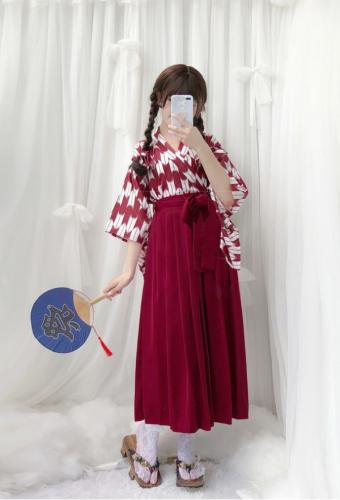 205b704dd0 Yagasuri Arrow Feathers Japanese Style Improved Kimono Haori Long Pleated  Skirt Costume