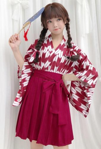 ff8e07d069 Japanese Kimono Yukata Arrow Printing Haori Pleated Skirt