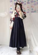 Camellia Love Improved Kimono Poppy Heng Feng Retro Suit Printed Bathrobe Black Long Skirt