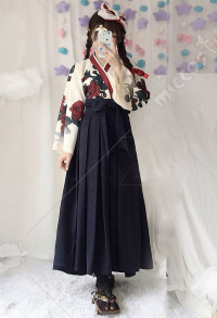 Camellia Love Improved Kimono Poppy Heng Feng Retro Suit Printed Bathrobe Black Long Skirt