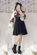 Camellia Love Improved Kimono Poppy Heng Feng Retro Suit Printed Bathrobe Black Skirt