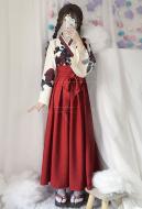 Camellia Love Improved Kimono Poppy Heng Feng Retro Suit Printed Bathrobe Red Long Skirt