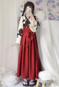 7611c3e8e2 Camellia Love Improved Kimono Poppy Heng Feng Retro Suit Printed Bathrobe  Red Long Skirt