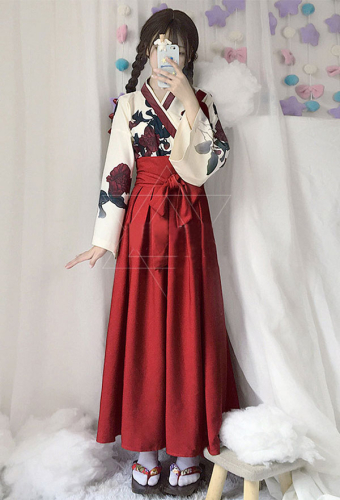 Camellia Love Improved Kimono Poppy Heng Feng Retro Suit Printed Bathrobe Red Long Skirt