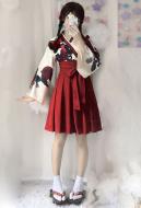 Camellia Love Improved Kimono Poppy Heng Feng Retro Suit Printed Bathrobe Red Skirt