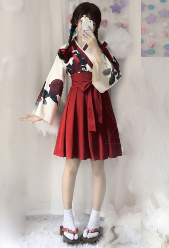 Camellia Love Improved Kimono Poppy Heng Feng Retro Suit Printed Bathrobe Red Skirt