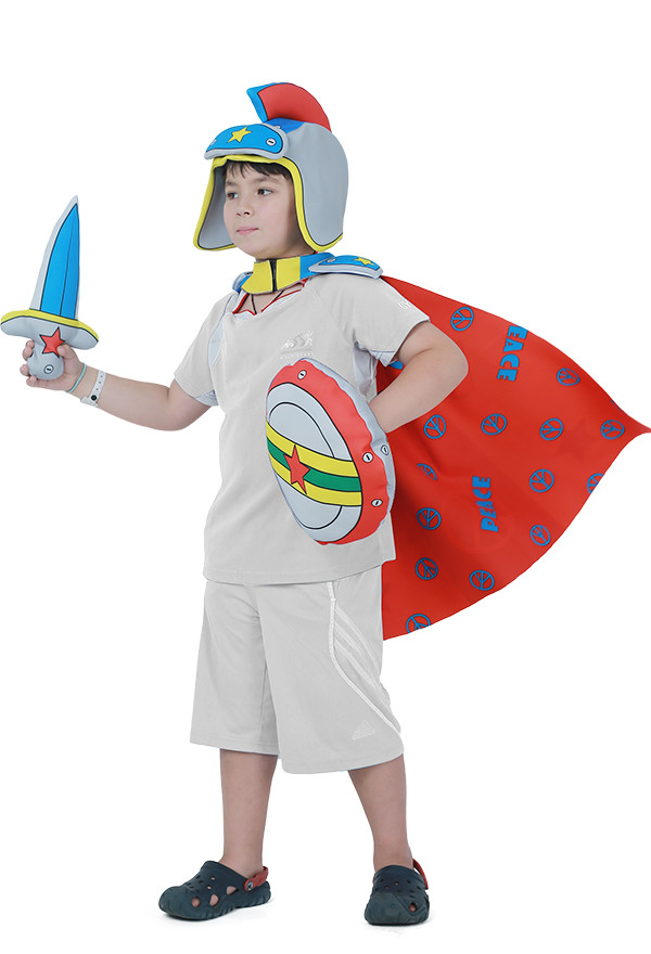 Kinder Cartoon Crusader Medieval Warrior & Knight Krieger u. Ritter-Kostüm mit Schild und Schwert