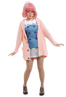 Beyond the Boundary Mirai Kuriyama Japanese Style JK Student School Uniform Set Sailor Collar Top and Skirt Cosplay Costume Outfits with Sweater Uniform Coat and Pantyhose