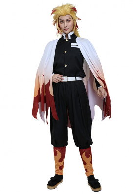 Demon Slayer Kimetsu no Yaiba Flame Pillar Demon Slayering Corps Kyoujurou Rengoku Dämonenjäger Cosplay Kostüm Uniform
