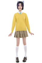 Demon Slayer Academy Kimetsu no Yaiba Kochou Shinobu Nezuko Mitsuri Girls School Uniform Yellow Sweater Set Outfit Cosplay Costume with Tie