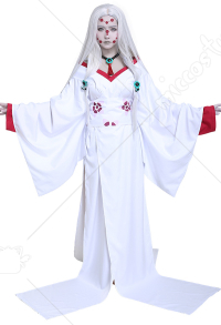 Kimetsu no Yaiba Demon Slayer Rui Mother Spider Demon Cosplay Costume Kimono with Necklace and Hair accessories