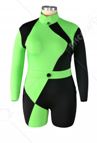 Plus Size Kim Possible Shego Jumpsuit Bodysuit Cosplay Costume