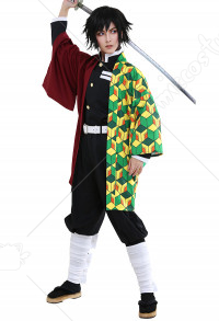 Demon Slayer Kimetsu no Yaiba Giyuu Tomioka Water Pillar Demon Slaying Corps Dämonenjäger Uniform Komplett Set Cosplay Kostüm