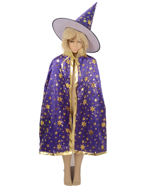 Child Little Magician Wizard Witch Costume Cloak with Hat