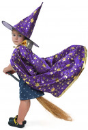 Child Little Magician Wizard Witch Costume Cloak with Hat for Halloween