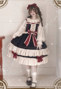 Sweet Lolita Snow White Daily JSK Two Piece Slip Dress with Cute Bowknots Ruffles